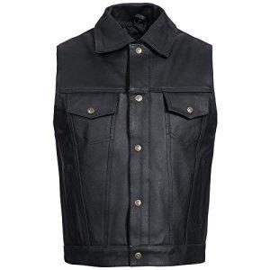 Gaudi-Leathers Veste Homme en Cuir Moto Biker Vest Gilet Crochet Mousqueton et Laçage Latéral 2XL