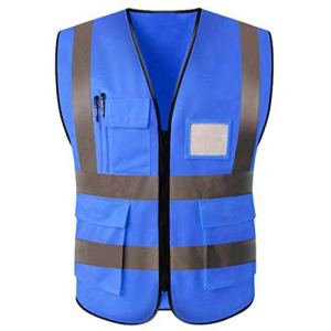 Gilet Réfléchissant De Sécurité Des Gilets De Sécurité Réfléchissants Mesh Avec Poches Et Fermeture Éclair For Les Travailleurs De L'assainissement Police De La Circulation (72X126CM) (Color : Blue)