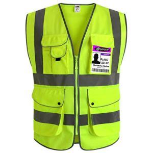 JKSafety 9 poches de classe 2″gilet de sécurité haute visibilité devant avec des bandes réfléchissantes, jaune répond aux normes EN ISO 20471 – Unisexe(Large)