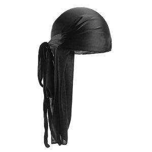 Libertroy Hommes Femmes Soie Satin Respirant Soyeux Durag 360 Wave Cool Bandana Hat Turban – Noir