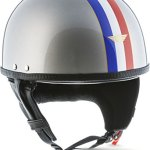 Moto Helmets Set D22France Casque de moto Vespa Bobber style vintage (bol) avec housse en plastique et lunettes de pilote incluses