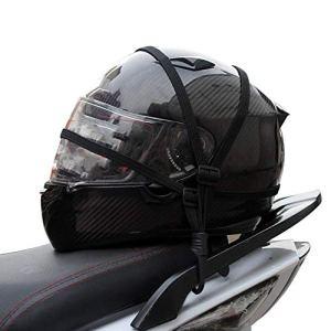 Motocyclette Bagages Casque Corde Élastique Rétractable Sangle Élastique Rétractable Casque Moto Bagages Corde avec 2 Crochets – Noir