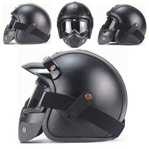 MTTK Dot personnalité Casque Moto rétro certifié Moto Vintage 3/4 Demi-Casque vélo électrique Casque de sécurité,M