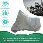 Protection complète de la Moto Couvre Anti-UV imperméable à la poussière étanche à la Pluie Couvrant la Moto Respirante Capuche extérieure Tente intérieure-Silver L