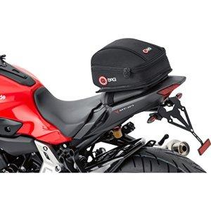 QBag Sac arrière Moto Sac de Moto Sacoche arrière Moto 03, Bagage Moto pour siège Passager/Porte-Bagages, Sacoche arrière Moto, Espace de Rangement 5 litres, Chargement/déchargement Facile, Noir