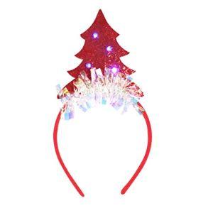 Rameng LED Bandeau de Noël Cerceau de Cheveux Serre-Tete Sapin de Noel Accessoire de Déguisement pour Enfant Adulte (Rouge)