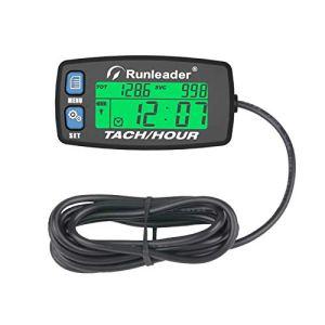 Runleader Tachymètre de compteur horaire,rappel de maintenance,tr/min d'alerte, affichage rétroéclairé,batterie remplaçable pour le générateur de tondeuse, marine et alimenté au gaz. (Button-BU)