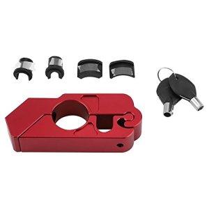 Serrure de Levier de Frein, Nimoa Universal CNC en Alliage d'Aluminium Moto Guidon Serrure de Levier de Frein pour La Sécurité Du Véhicule(rouge)