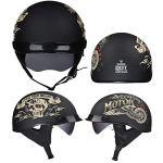 TKUI Demi Casque de Moto, Casques Harley Vintage à Face Ouverte avec dégagement Rapide de Lunettes pour Cruiser,M(57~58cm)