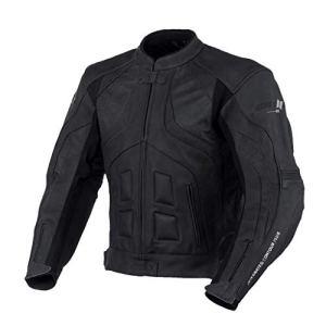 Transporter Veste en cuir noir de moto (L (EU52-54))