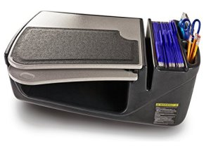 Car Desk with Retractable Writing Surface and Supply Organizer, Gray