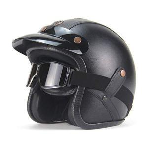 Leoboone Casque de moto demi-visage en cuir avec protection anti-vent 3/4