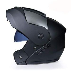 NBGT Moto Modulable Casque modulaire Doublure Amovible Casque Full Face Double Visor Bouclier Rabattable Casque intégral Casque Double visière Shield Rabattable Casque (S55cm ~ XL62cm),L