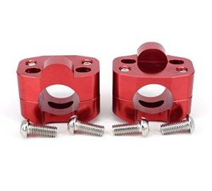 Paire de Moto 1 1/8″CNC Guidon Guidon Riser Mount Adaptateur de Serrage 7/8″ échange 1 1/8″- Rouge