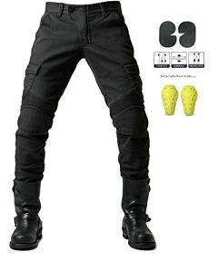 Protection Moto Pantalon Jeans Moto Pantalon d'Équitation avec Protéger Pads,Noir,L