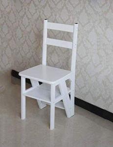 QEE Marchepied Pour Des Adultes En Bois Massif À Double Usage Chaise Pliante Escalier Ladder Chaise Ménagers Multifonctions 4 Tier / H1 / h1