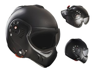 Roof Boxer V8 Full Black Flip Front Motorcycle Helmet XS Matt Black