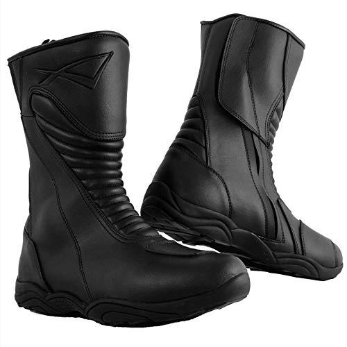 Bottes Racing Cuir Vachette Moto Motard Chaussures Renforcées Piste Noir 40