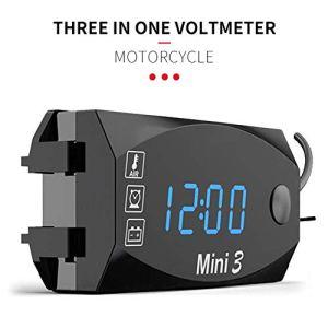 Dubleir 3 in 1 Numérique Horloge Moto Thermomètre Voltmetre Digitale Guidon Mount IP67 Étanche Montre Moto avec Affichage Grand Écran, 12v/24v