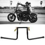 Guidon de moto Z-Bar, guidon de moto de 14 pouces guidon rétro haut guidon de Z-Bar avec clignotant à LED de 25 mm/1 po de diamètre