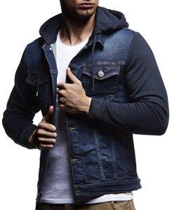 Leif Nelson Veste à manches longues et à capuche En jean et en sweat Pour homme Coupe près du corps Style décontracté pour les loisirs – Bleu – X-Large