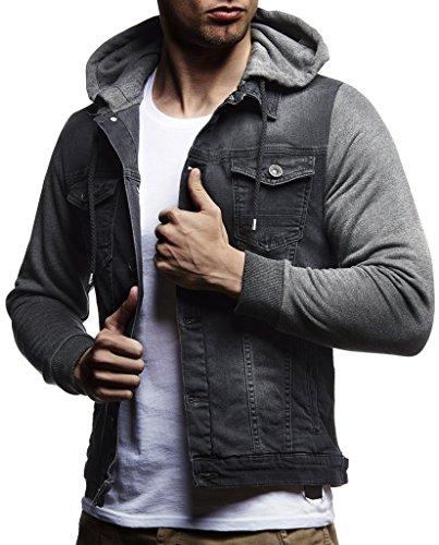 Leif Nelson Veste à manches longues et à capuche En jean et en sweat Pour homme Coupe près du corps Style décontracté pour les loisirs – Gris – X-Large
