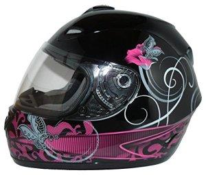Protectwear Casque moto intégral, noir pourpre, pour les femmes, conception fleur, FS-801-SL, Taille: S