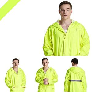 Wright Beard Raincoat Prime de réutilisable imperméable avec Reflecti Recyclable Raincoat Veste Couple Raincoat Poncho en Dehors du Travail Pêche Raincoat (Color : Fluorescent Yellow, Size : XXXXL)
