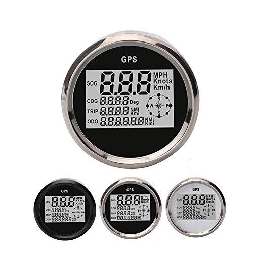 YEEWEN Moto Accessoires Pièces Universel Remplacement Réparation Moto Pièces Étanche GPS LCD Compteur 85MM GPS LCD Vitesse Odomètre Navire Moto Véhicule Compteur (Color : Black)