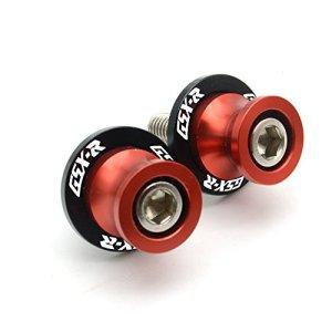 2pcs CNC Aluminium M8 Diabolos Bobines pour GSXR 600 750 1000 1300 (Rouge)