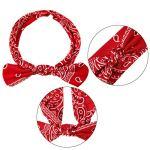 Bandeaux Bandana avec Nœud Bohème Headwrap avec Noeud Bandeau d'Oreille de Lapin Élastique Rétro pour Filles et Femmes (Style Paisley 2, 6 Pièces)