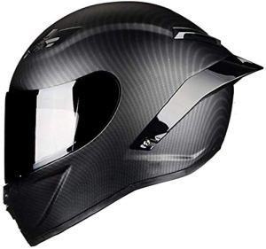 Casque de Moto Intégral Course Scooter pour Adultes (Brillant en Fibre de Carbone, M),Matte en Fibre de Carbone,Small