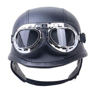 CHAOYUE Casque de Moto Semi-Ouvert de Style Allemand Vintage Noir avec des Lunettes, Certification Dot, pour Hommes Femmes Casque de Scooter de Moto (57-64 cm)