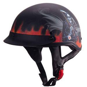CHAOYUE Demi-Casque de Moto avec Lunettes pour Hommes et Femmes, Demi-Casquette approuvée par Le Dot pour Scooter de cyclomoteur Chopper Cruiser Bike (55-62cm)
