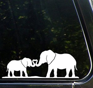 Elephant Mom and Baby Making Heart with Trunks – Car Vinyl Decal Sticker – Copyright (8.5″ w x 3.25″ h) (Color Choices Available) (White)