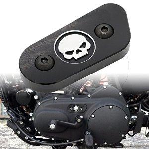 Frenshion Compatible pour Moto CNC Couverture d'inspection en Chaîne Guard Chrome Skull Protéger pour Harley Davidson Sportster XL 883 1200 2014 2015 2016 Noir