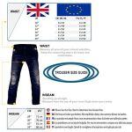 Juicy Trendz de Protection Moto Pantalon Jeans Renforcé avec Protection Aramide Doublure, Bleu, W36-L30