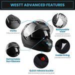 Westt Storm X Casque de Moto Intégral avec Double Visière – Scooter de Moto Noir Mat certifié ECE