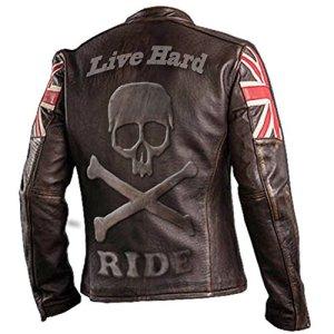 e-clothing UK Drapeau Biker Vintage Style Moto en Cuir véritable Moto Veste Brun foncé avec crâne gravé Logo sur L arrière-