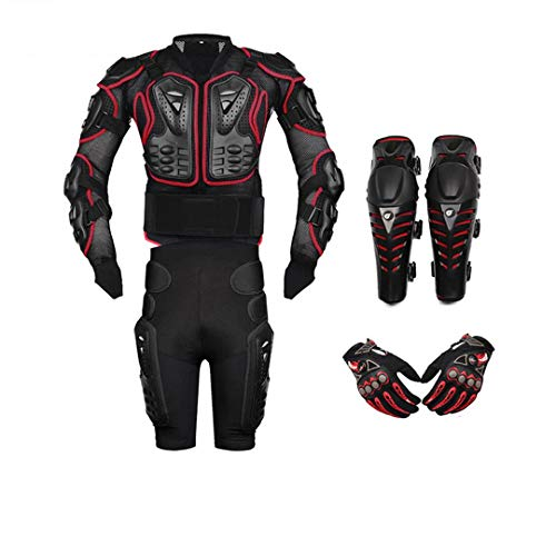 Ger-Gisntips Veste de Moto + Pantalon de Protection + genouillères + Gants Red A4 Set S