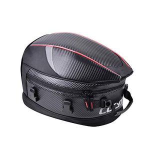 M&MDW Fibre de Carbone Queue de Moto Sac étanche 35L rétractable Grande capacité de Moto Queue Forfait Équitation Voyage Sports Bagages Sac de Queue,Rouge