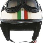 MOTO Helmets D22 Casque moto Demi Jet avec lunettes et visière