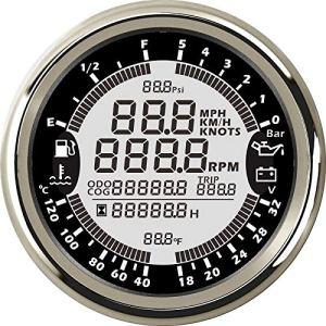 Nologo Jauge de Carburant 85mm 6 en 1 Compteur de Vitesse Jauges Automatique Multi-Fonctionnelle GPS tachymètre de Niveau de Carburant Eau Voltmètre Pression Temp Huile 5bar QPLNTCQ