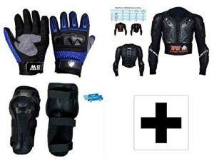 Protection de moto pour enfant avec protection dorsale et genouillères et protection des phalanges rigide