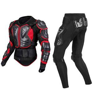 TZTED Veste Armure Moto Armure Pantalon Armure Complète du Corps Moto Hors Route Sport Poitrine Dos Protecteur,Noir,M