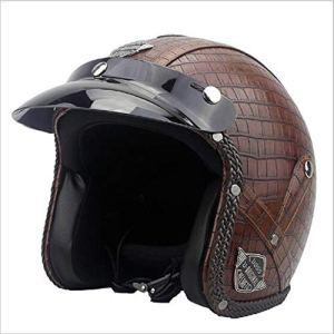 ZWQ Casque de Moto Vintage pour Hommes et Femmes, rétro Ouvert léger pour Moto, Petite Grille, L