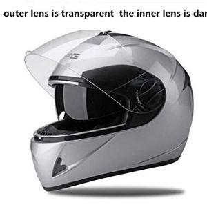 ZWQ Helmets Snowmobile Helmet Hommes Femmes Full Face Dual Lens avec Foulard retiré Blanc Couleur Moto, DFG Brands, M