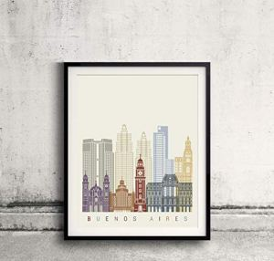 Buenos Aires skyline poster Papel Mate 240gr DIN A5