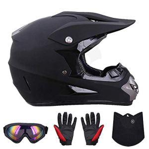 Gants De Lunettes De Motocross Adulte Moto Dot, Casque Hors Route, Casque De Course VTT Dirt Bike, Casques De Protection Moto Noir,L