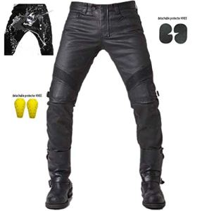 Hommes Pantalon Moto imperméable – Protection Moto Pantalon Jeans – Renforts certifés CE-1621-1 – Noir (L- (Waist 34.5″))